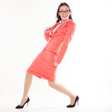 Girl teacher with glasses and a business suit Royalty Free Stock Photos