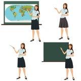 Girl teacher shows stock illustration