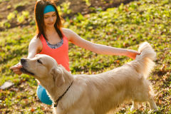 Girl teaching dog at park. In afternoon Royalty Free Stock Images