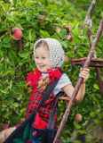 Girl tearing the apples Stock Photo