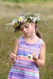Girl tears off petals of daisy Stock Photo