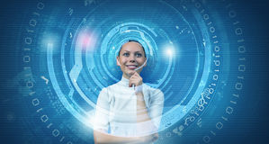 Girl and technologies of the future Royalty Free Stock Photo