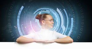 Girl and technologies of the future Stock Images