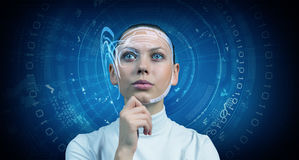Girl and technologies of the future Stock Image