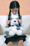 Girl and teddy. Beautiful girl with teddy bear Royalty Free Stock Photos