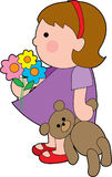 Girl with teddy Stock Images