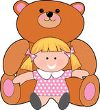 Girl with teddy. Little girl with a giant teddy bear Royalty Free Stock Photo