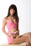 Girl with teddy Stock Photos