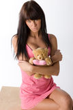 Girl with teddy Royalty Free Stock Image