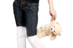 The girl with a teddy bear Stock Photos