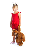 Girl with teddy-bear. Isolated on white background Stock Images