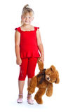 Girl with teddy-bear. Isolated on white background Royalty Free Stock Photo