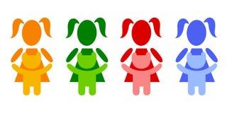 Girl with teddy bear. A pictogram girl with a teddy bear Royalty Free Stock Photo