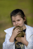 Girl and teddy bear Stock Photography