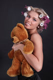The girl with a teddy bear Royalty Free Stock Photos