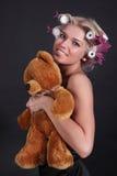 The girl with a teddy bear Royalty Free Stock Photos