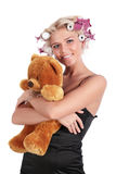 The girl with a teddy bear Royalty Free Stock Images