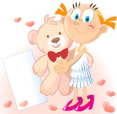 Girl with teddy bear. Little girl with teddy bear and hearts Royalty Free Stock Image