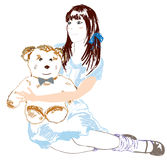 Girl and teddy bear Royalty Free Stock Photography