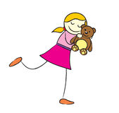 Girl with teddy bear. A blonde girl in a pink who love her brown teddy bear so much. she always carry the teddy every where she go Stock Photography
