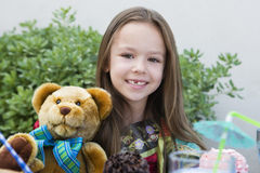 Girl With Teddy Bear Stock Photos