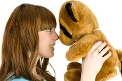 Girl with teddy bear Stock Photography