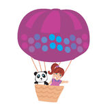Girl and teddy bear in an air balloon Royalty Free Stock Image