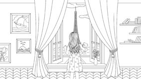 Girl with a teddy bear coloring picture stock illustration