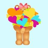Girl teddy bear holding multiple colored hearts Stock Photos