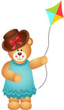 Girl Teddy Bear with Kite Wind Royalty Free Stock Images