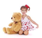 Girl with a Teddy bear Royalty Free Stock Photos