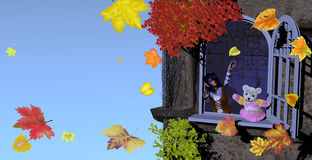Girl and teddy bear playing with autumn leaves vector illustration