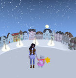 Girl and teddy bear standing in snowy place Stock Photos