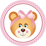 Girl Teddy Bear Sticker Stock Photography