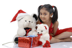 Girl with Teddy Bears in christmas Royalty Free Stock Photography