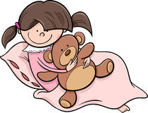 Girl with teddy cartoon illustration Royalty Free Stock Image