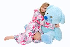 Girl with teddybear Stock Photos