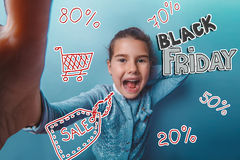 Girl teen Black Friday discount sale shopping Stock Photo