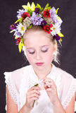 Girl or teen with flowers in hair Royalty Free Stock Image