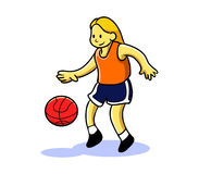 Girl Teen Playing Basketball Stock Images