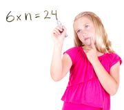 girl or teen solving a math problem Royalty Free Stock Photo