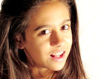 Girl teen 11 years ligths and shadows, artístico portrait Stock Images
