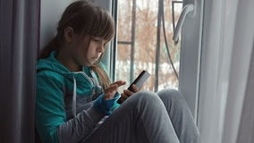 Girl Teenage Using Mobile Phone stock footage