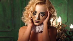 Halloween Looks Scary.Scary Girl With Make Up On A Halloween With A Bouquet Of