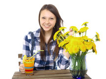 Girl teenager, caucasian appearance, brunette, wearing a plaid s Royalty Free Stock Images