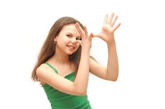 The girl the teenager does a mimicry. The girl  teenager does a mimicry Stock Photography