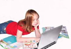 Girl teenager  doing lessons Royalty Free Stock Images