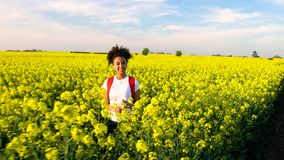 Girl teenager female young woman hiking with red backpack and bottle of water in field of yellow flowers stock video