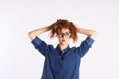 Girl teenager with glasses on white  background, blank space for copy Royalty Free Stock Photos