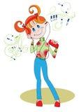 Girl - teenager in headphones Royalty Free Stock Images